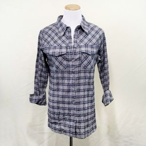 Patagonia plaid button shirt blue gray collared 6